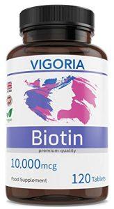 Biotine – Pousse Rapide pour Cheveux et Poils – Peau éclatante et Ongles forts – Barbe touffue – Pour les Hommes et les Femmes – 120 comprimés de 10000 mcg – Sans additifs ni OGM – Végan