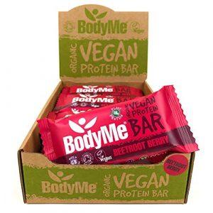 BodyMe Barre Proteine Vegan Bio | Cru Betterave Baie | 12 x 60g Barres Protéinées Bioloqique | Sans Gluten | 16g Protéinée Complète | 3 Proteines Vegetales Acides Aminés Essentiel | Vegan Protein Bar