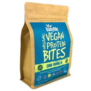 BodyMe Biologique Morsures de Protéines Végétalien | Cru Chia Vanille | 500g | 100 Morsures | Avec 3 Protéines de Plantes