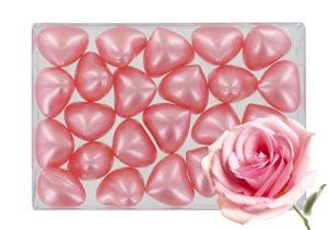 Boîte de 24 perles d'huile de bain fantaisies – Cœur parfum rose