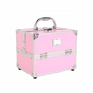 Boîte de rangement cosmétique étanche PU, étui de maquillage de beauté, étui de stockage de beauté multifonctionnel de grande capacité-Pink