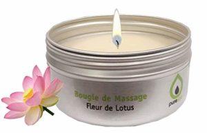 Bougie de massage fleur de Lotus, 100% végétale , sans paraffine, sans parabène, longue durée