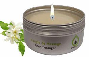 Bougie de massage fleur d'oranger, cire 100% végétale , 80 gr, ofre découverte