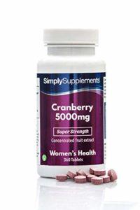Canneberge (Cranberry) 5000mg 360 Comprimés – Approvisionnement de 4 Mois, Prévient les Infections Urinaires, Source Naturelle de Vitamine C, Fabriqué au Royaume-Uni