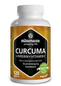 Capsules de curcuma + pipérine et curcumine fortement dosée + vitamine C, 120 capsules, produit de qualité allemand, maintenant au prix promotionnel et 30 jours de reprise gratuite ! Pack de 1 (1 x 105,6 g)