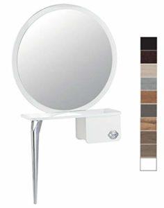 CERIOTTI Miroir professionnel de salon pour coiffeuse avec étagère ronde