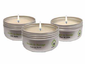 Coffert sensuel de 3 Bougies de massage EMPIRE DES SENS Fleur de Monoï, Fleur de Lotus, 1001 Nuits 100% végétale,