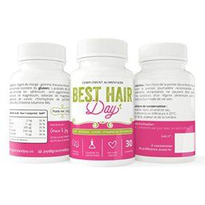 Complément alimentaire cheveux Best Hair Day   Anti-chute   Activateur de pousse   Zinc, Sélénium, Vitamines B6/B8   Satisfait ou remboursé   Fabriqué en France, 100% Végétalien   30 Comprimés