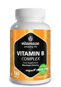 Complexe de la vitamine B fortement dosé à base de vitamines B1, B2, B3, B5, B6, B7, B9, B12, végétalien, quantité pour 6 mois, produit de qualité allemande sans stéarate de magnésium, GARANTIE DE REMBOURSEMENT À 100 %