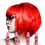 Crazy Color Renbow Lot de 4 tubes de crème colorante de soin pour les cheveux 100 ml (Fire Red)