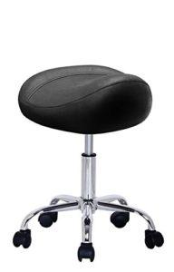 crisnails® tabouret de Coiffeur Fauteuil de coiffeur, siège de matériel en cuir synthétique design et ergonomique, réglable en hauteur, rotatif à 360° et Base stable avec 5rueditas, couleur noir Noir