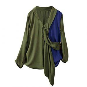 Crylee Chemise Pullover T-shirt Sweat-shirt Top Des femmes Printemps et automne Vêtements pour femmes Manches longues Col en v Couture Couleur de contraste La mode Les loisirs En vrac