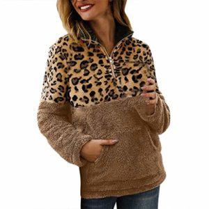 Crylee T-shirt Chemise Sweat-shirt Pullover Hauts Femmes Vêtements pour femmes Automne et hiver Couture Léopard La mode Les loisirs En vrac Sauvage Manches longues Fermeture éclair