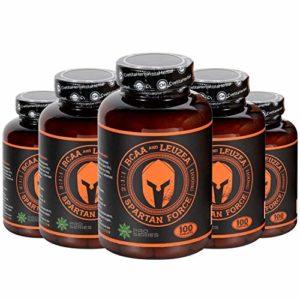 Cvetita Herbal, paquette de 5 x BCAA SPARTAN FORCE, recharger son pouvoir, BCAA 2:1:1, extrait de leuzea carthamoides, 500 comprimés, 250 portions x 2200mg, stimule la croissance musculaire, prend en charge une récupération rapide après l'entraînement