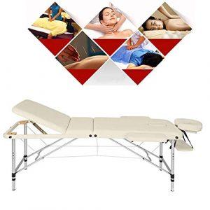 DBSCD Professionnel Portable 3 Section Table De Massage Confort Pliant Réglable en Cuir PU de Haute Qualité Sécurisé Anti-Slip avec Sac De Transport