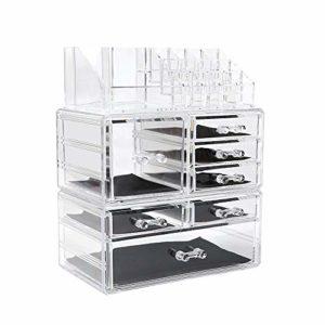 Display4top Organisateur Maquillage Acrylique Boîte à Bijoux Transparent Rangement de Maquillage Pinceaux 7 Tiers Tiroirs