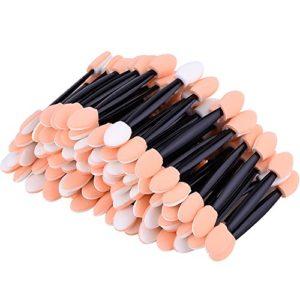 eBoot – Lot de 100 pinceaux jetables pour ombre à paupières des yeux, double face, éponge avec pointe, applicateur de maquillage ovale