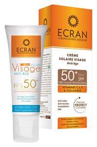 Ecran Crème Solaire Visage Anti-âge SPF 50+ 50 ml – Lot de 2