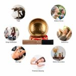 EKKONG Bol Chantant Tibétain, Bol Tibétain Artisanal avec Coussin et Maillet en Cuir, Bol Chantant pour Méditation Yoga Détente Guérison Décoration de Maison