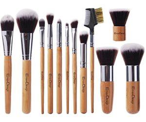 EmaxDesign Lot de pinceaux à maquillage professionnel – 12 pièces avec poignée en bambou synthétique premium. Pour les fonds de teint, pinceaux à fard à joues, kabuki, à poudre, à crèmes cosmétiques et correcteur pour œil