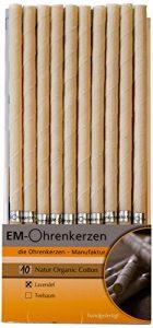 EM-Kerzen Lot de 10 bougies d'oreilles en coton organique Lavande