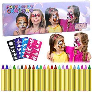 Emooqi Visage Peinture, 24 Couleurs Visage Kits de Peinture Visage Peinture Crayons avec 40 Pochoirs, Idéal pour Le Carnaval,Cosplay, Cadeau pour Les Enfants – Sûr et Non Toxique (24 Couleurs)