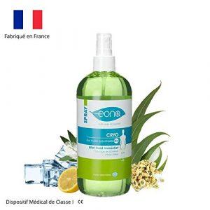 EONA – Spray Cryo – Spray a effet froid et durable à base d'huiles naturelles Bio de Camphre, Citron, Girofle, Cyprès, soulagement immédiat des courbatures – 500ml