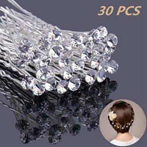 Épingle à cheveux de Diamants forme, 30pcs Pince à cheveux de diamant en forme de U,Mariage Mariée Perle Fleur Cristal Épingle à Cheveux pour Mariage Accessoires pour Cheveux , le style de bijoux de mariée de mariage