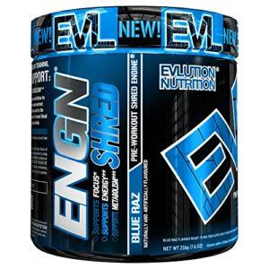 Evlution Nutrition ENGN SHRED | Supplément Pour La Réduction Du Poids| Poudre Pré-entraînement/Brûleur De Graisse | Augmente L'Energie | Formule Thermogénique | 30 Doses | Goût Framboise Bleue