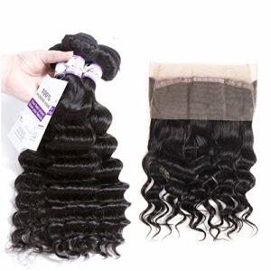 Extension de cheveux Bundles Brésiliens en vrac de la vague profonde 3 Bundles avec 360 faisceaux d'armure de cheveux de fermeture frontale de lacet de cheveux humains non remy pour femme