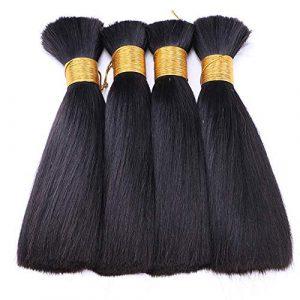 Extension des cheveux Fashian Hair Extensions Weave Bundles droites cheveux longs Bundles de trame de cheveux humains couleur naturelle (Couleur : Noir, Size : 22 inch/62cm)