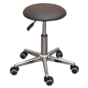 eyepower Tabouret de Travail MST-402 chaise pivotante 360° réglable en hauteur siège rembourré avec roulettes | poids supporté 120 kg | idéal pour coiffeur esthéticien cabinet médical | brun