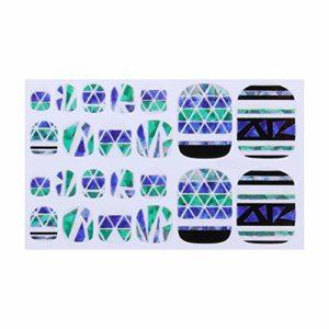 Fansi 22 pcs/Set Bricolage Faux Ongles Simple Impression Abstraite Motif Toe Autocollant Art Autocollant Faux Ongles manucure Salon décor (coloré H)