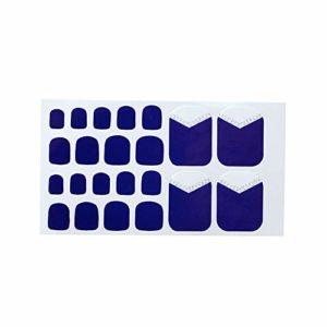 Fansi 22 Pcs/Set Filles DIY Faux Toenails Abstrait Treillis Imprimer Motif Toe Autocollant Art Autocollant Faux Ongles Manucure Salon Décor (Blue B)