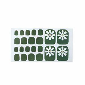 Fansi 22 Pcs/Set Filles DIY Faux Toenails Simple Abstrait Impression Motif Toe Autocollant Art Autocollant Faux Ongles Manucure Salon Décor (Vert)