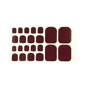 Fansi 24 pièces/Set DIY Faux Ongles Pied Simple Mode Sex Elegant Acrylique Toe Autocollant Art Autocollant Faux Ongles manucure Salon Décor (Rouge foncé)
