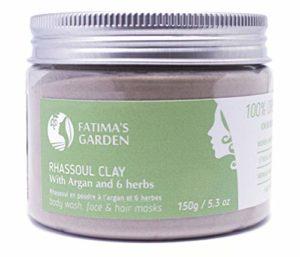 Fatima's Garden – Ghassoul aux herbes pour masque de visage et cheveux (rhassoul), pour Hammam 100% Bio – 150gr
