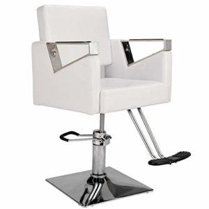 Fauteuil de Coiffure Chaise Hauteur Réglable Pivotant avec Repose-Pied Chaise Hydraulique