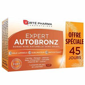 Forté Pharma Expert Autobronz | Complément Alimentaire Autobronzant à Base de Caroténoïdes et Pigments Végétaux | 45 Comprimés = 1,5 Mois