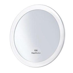 Frcolor Miroir grossissant 10X avec 3 ventouses, Miroir cosmétique Miroir de poche pliant 5.9 «(Blanc)