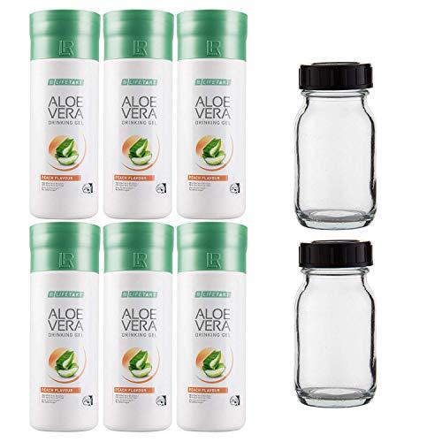 Gel à boire pêche à l'aloe vera LR 3 x 1 000 ml plus 2 flacons rotatifs (en verre/non remplis) pour les déplacements, 100 ml