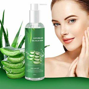 Gel Aloe Vera Bio 100% – hydratant Visage & Corps Cheveux, Hydratant naturel, Riche en vitamines et minéraux – Idéal pour les peaux sèches et stressées et les coups de soleil, l'acné, Calmant Aprés Epilation, Soins du visage
