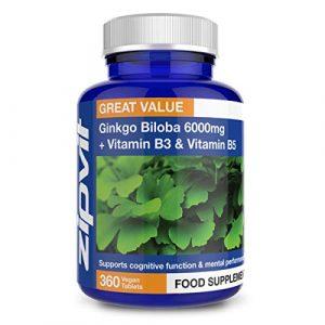 Ginkgo Biloba 6000mg standardisé feuilles extrait. 360 Comprimés avec Vitamine B3 et B5. Réserves de 12 Mois. Convenable aux végétaliens et végétariens.