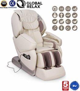 Global Relax France – NIRVANA Fauteuil de Massage (nouveau modèle 2018) – Blanc – 5 ANS Garantie Prolongée