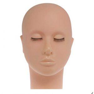 Globalflashdeal Mannequin Pratique dans Silicone à Tête Plate Extensions de Faux Cils Maquillage Modèle de Formation de Massage