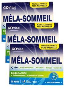 Govital – 3 MOIS – MELA-SOMMEIL Double Action: Endormissement et Sommeil de qualité – 3 Boites de 30 Gélules