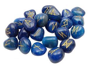 Harmonize Dégringolé Bleu Agate Pierre avec Rune Alphabets Symbole Reiki Guérison Cristal Don Spirituel