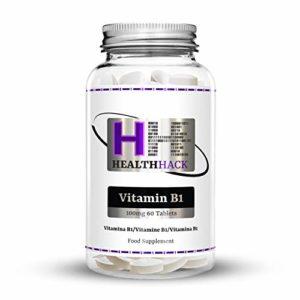 Health Hack – Lot de 60tablettes de vitamineB1 (thiamine), 100mg