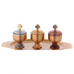 Holyart Saintes huiles: Set Trois Ampoules satinées et Plateau
