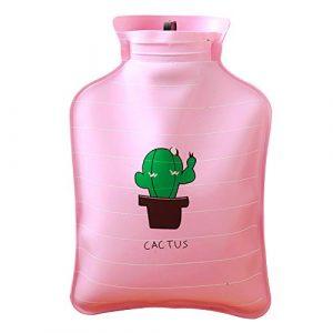 Hosaire Bouillotte en PVC Style Mignon Motif de Cactus Bouteille d'eau Chaude d'injection d'eau Solide et Garder Chaud 15cm*10.5cm
